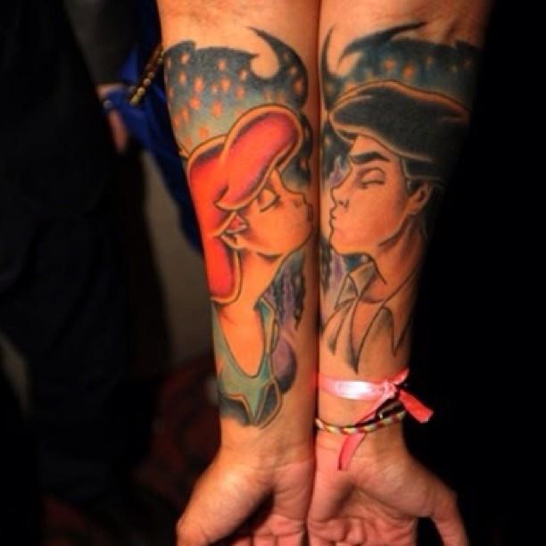 Cute-Disney-Couple-Tattoo-Design-on-Arm