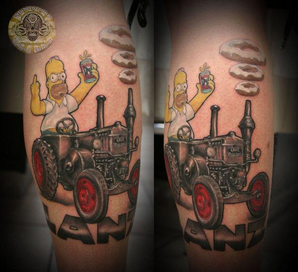 Homer_Simpson_bulldog_lanz_by_2Face_Tattoo