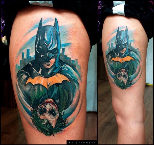 Jocker-and-Batman-Tattoo-600x568