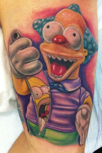 tatuaje treehouse of horror krusty clown cuchillo homero simpson