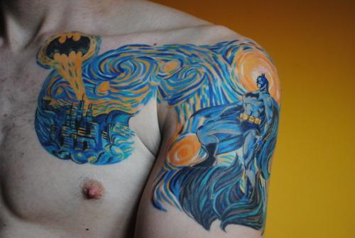 Van-Gogh-Starry-Night-Batman-Tattoo