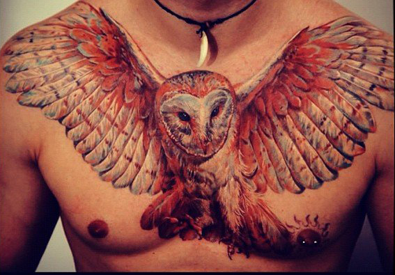owl-tattoo-on-chest