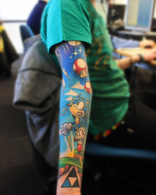 14-colorful-sonic-mario-sleeve-tattoo