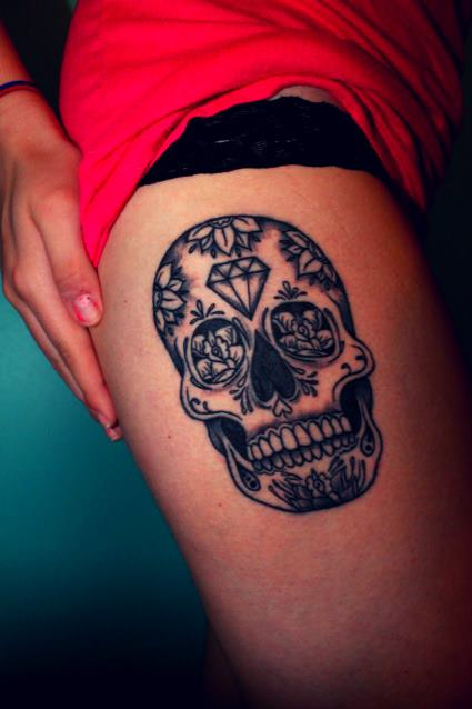 grey-ink-sugar-skull-thigh-tattoo