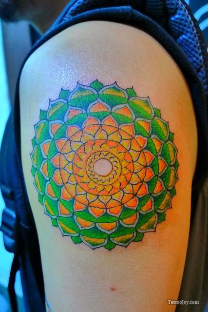 green-orange-mandala-tattoo
