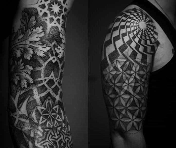black-ink-geometric-tattoo-on-right-half-sleeve (1)
