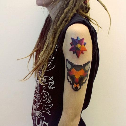 color-geometric-tattoo-on-girl-left-half-sleeve