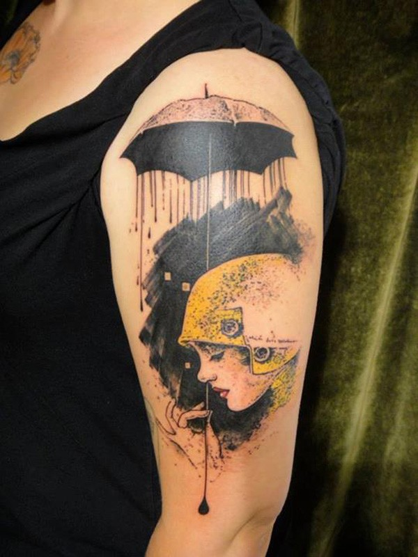girlcap watercolor tattoo on the upper arm - umbrella rain hand cord-f70757