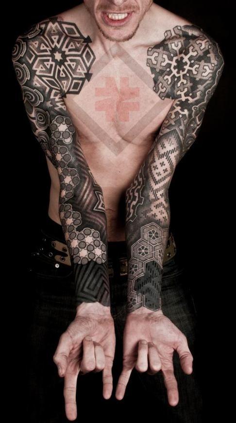 grey-ink-black-geometric-tattoos-on-both-sleeves