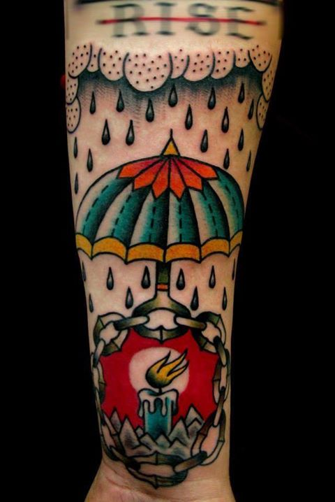 Umbrella Protecting Burning Candle From Rain Tattoo