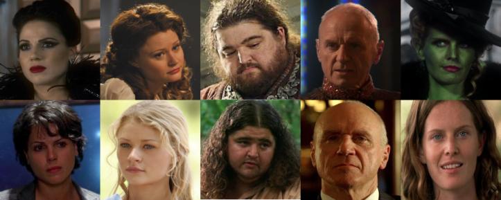 Lana Parrilla, Emile de Ravin, Jorge Garcia, Alan Dale e Rebecca Mader em OUAT (em cima) e em Lost (embaixo)