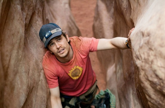 The film '127 Hours' is nominated for an oscar for music, original score. '127 Hours' is also nominated for, best picture; Best Actor in a Leading Role, JAMES FRANCO; Film Editing; and Writing (Adapted Screenplay). RELEASE DATE: November 5, 2010. MOVIE TITLE: 127 Hours. STUDIO: Fox Searchlight Pictures. PLOT: A mountain climber becomes trapped under a boulder while canyoneering alone near Moab, Utah and resorts to desperate measures in order to survive. PICTURED: JAMES FRANCO as Aron Ralston.