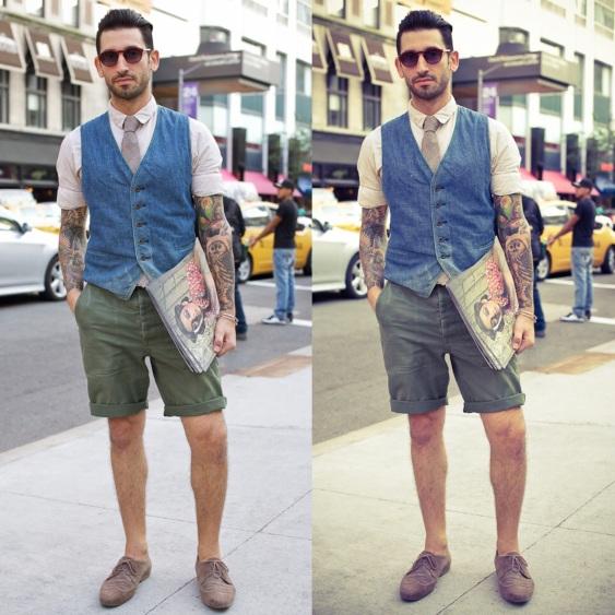 look-masculino-bermuda-colete-gravata