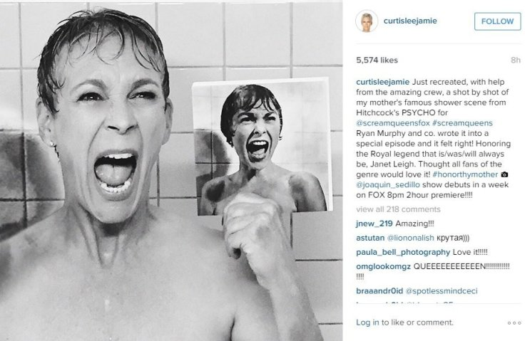 "Jamie Lee Curtis gets her acting gene from parents Janet Leigh and Tony Curtis. Leigh is best known for her role in Alfred Hitchcock's 1960 classic, ""Psycho."" To promote her new series, ""Scream Qeens,"" Curtis recreated Leigh's famous shower scene in ""Psycho,"" teasing it on Instagram"